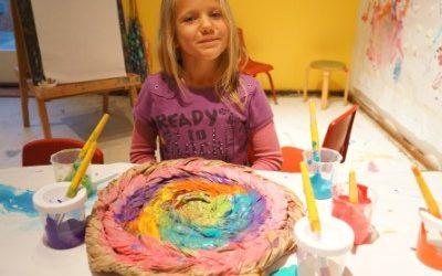 Water Color & Oil Pastel Resist and Tempera Fun!