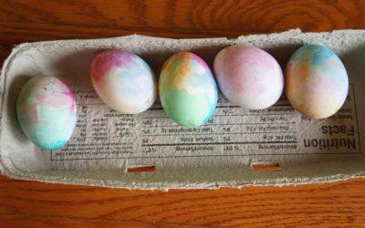 Tissue Paper Dyed Eggs, Foam Paint, and Liquid Sidewalk Chalk