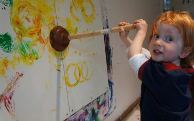 Painting with Wacky Tools, Plunger Prints, and Spring Sensory Box
