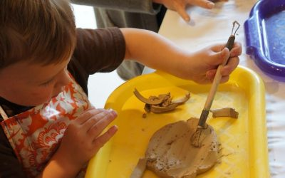 Clay with Recycled Materials and Spin Art
