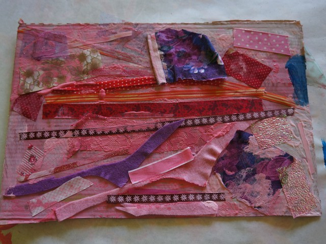 Open-ended Art: Fabric and Paint on Cardboard